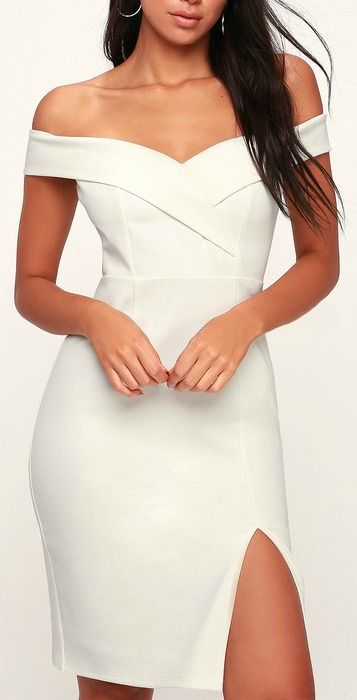 40788118 Lulus   Classic Glam White Off-the-Shoulder Bodycon Dress   Size X-Small    100% Polyester in 2019   Best of New   Dresses, Off the shoulder dress  formal, ...