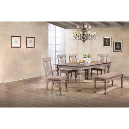 6 Piece 2 Tone Brown Wood Rectangle Dining Room Table, 4 Chairs