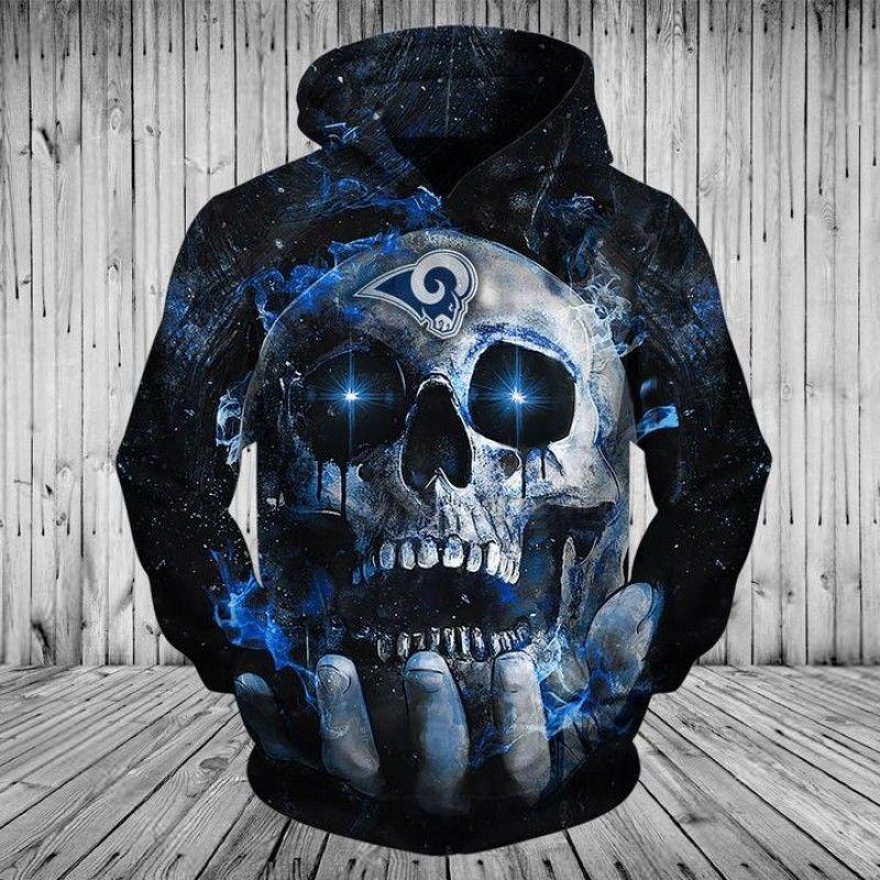 los angeles rams 3d hoodie blue skull in 2020 new england patriots apparel patriots hoodie dallas cowboys hoodie pinterest