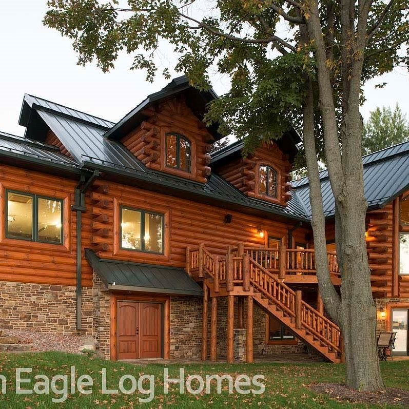 Golden Eagle Log Homes On Instagram Beautiful Prow Feature Wall With Gable Dormers And A Western Style Metal Roof S Log Homes Metal Roof Metal Roofing Prices