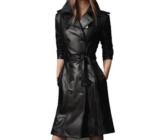 Handmade Women's Slim Long Design Black Leather Coat $199.99 | My ...