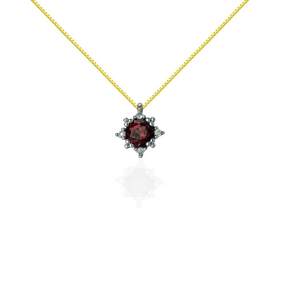 4e3701bfe796f Gargantilha em Ouro 18k Topázio Vermelho com Diamantes ga02993 -  Joiasgold   ouro  casamento