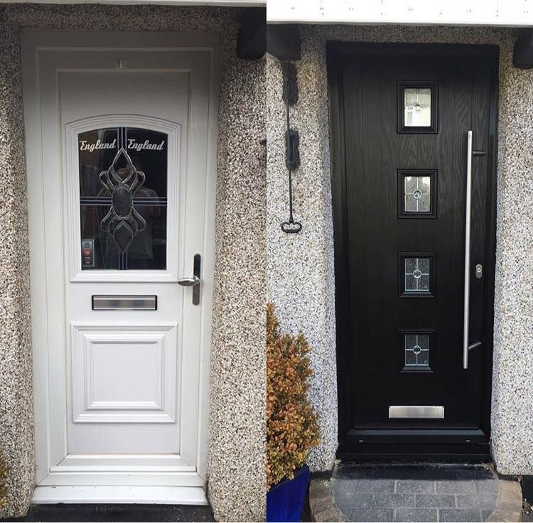 Black 4 Square Composite front door with a long bar handle ...