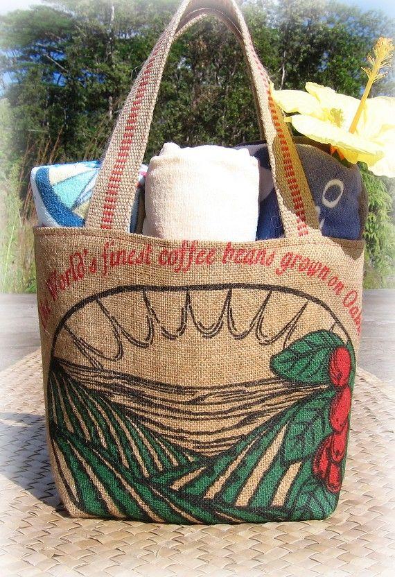 Hawaiian coffee upcycled zipper bag