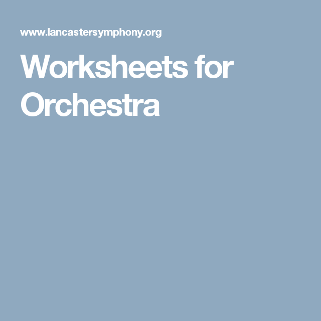 Worksheets for Orchestra | Beginning Band | Pinterest | Classroom ...
