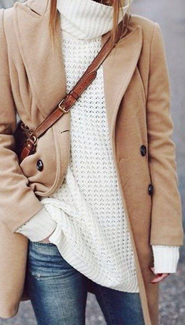 Camel coat over chunky white turtleneck