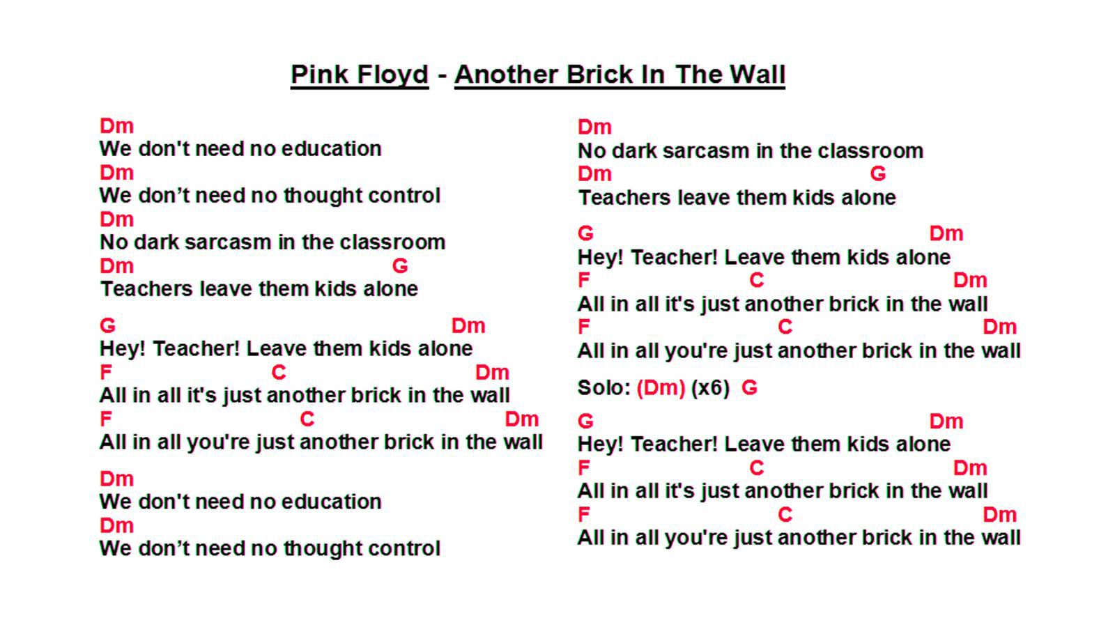 Idea By Ed On Music Guitar Cord Pink Floyd Brick In The Wall