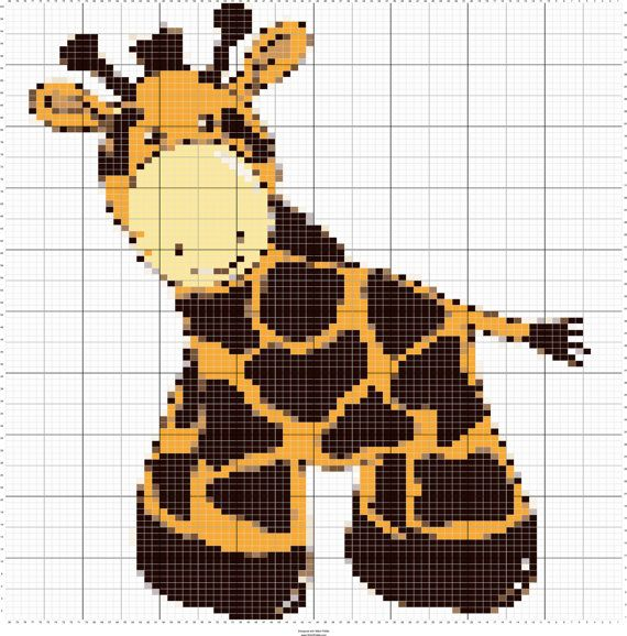 Knit Baby Giraffe Charts, Intarsia Knitting Graphs, PDF Digital ...