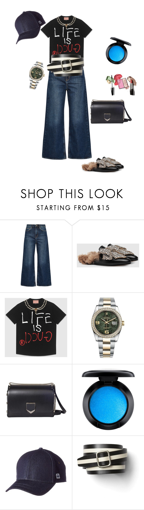 """Untitled #4901"" by ayse-sedetmen ❤ liked on Polyvore featuring M.i.h Jeans, Gucci, Rolex, Jimmy Choo, MAC Cosmetics, G-Star Raw and Gap"