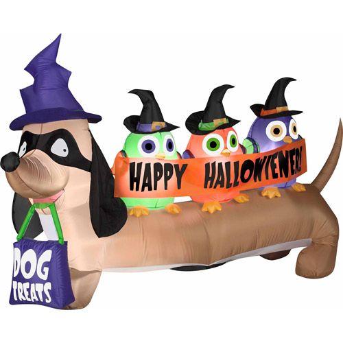 4' Airblown Inflatables Halloweiner Dog Halloween Decoration ...