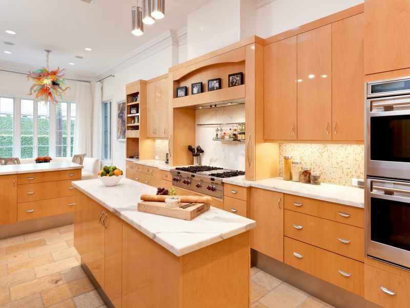 Contemporary Wood Kitchen, Natural Wood Kitchen Cabinets With White Countertops
