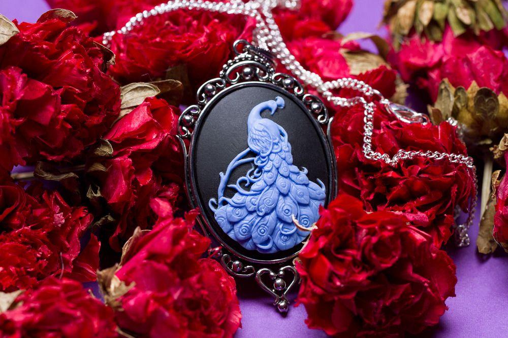Peacock Cameo Necklace