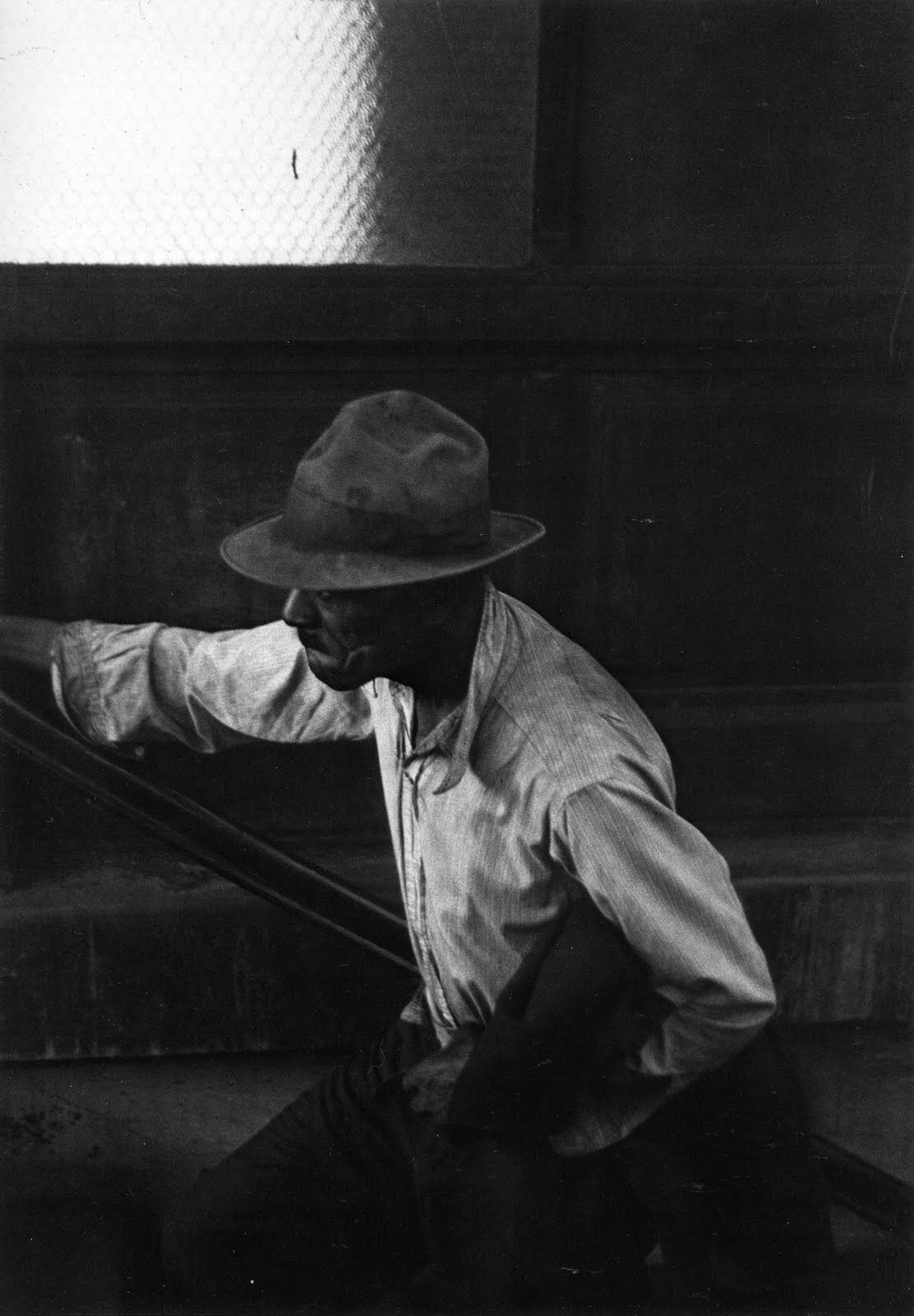 Roy decarava man coming up subway stairs 1952 new york ny usa