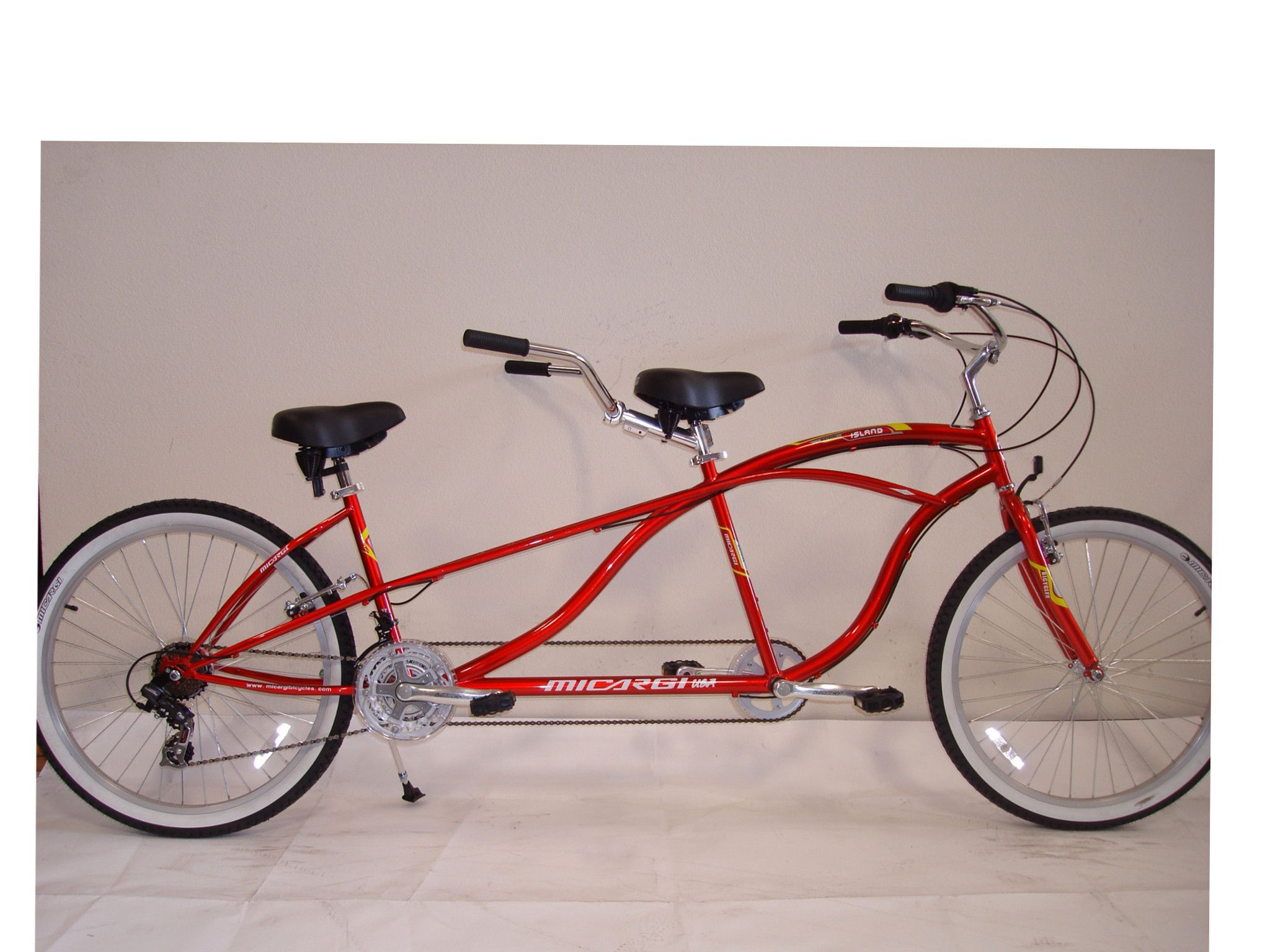 Micargi island 26 tandem beach cruiser shimano 21 speed bike red