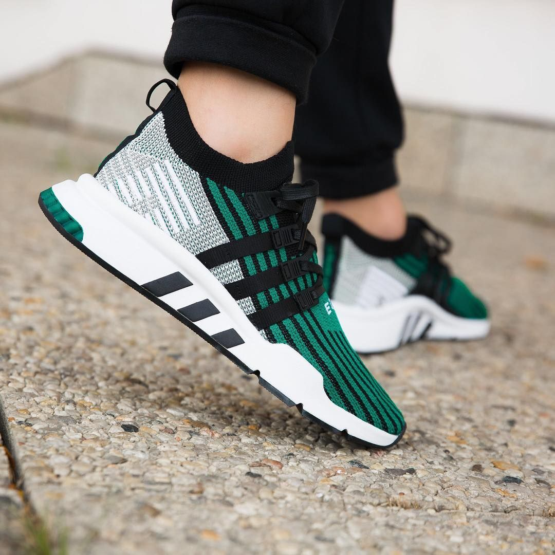 new arrival e9276 7594c Adidas EQT Support Mid ADV Primeknit Core Black / Sub Green ...