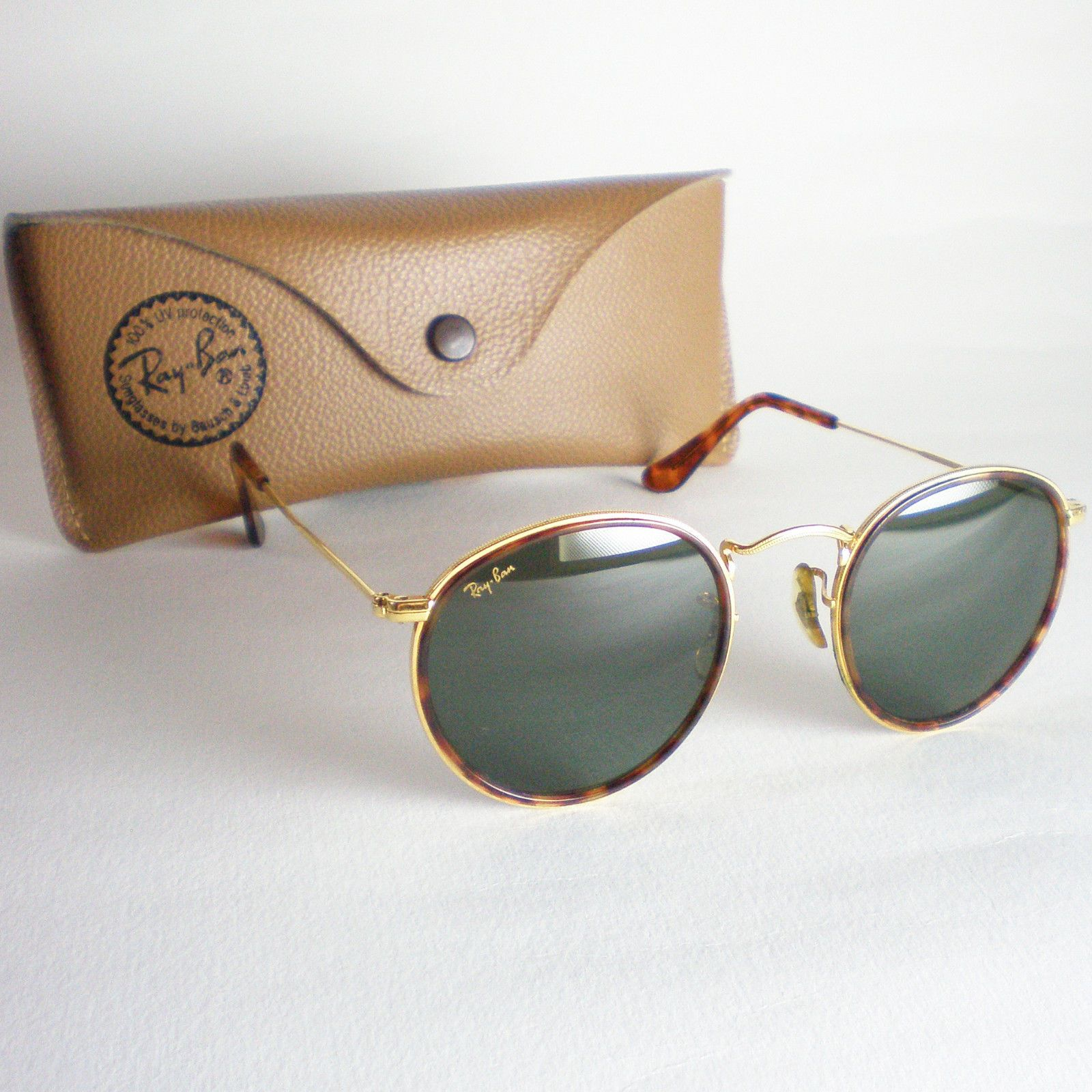 750a7bbe7b Vintage Ray Ban B L USA ROUND Sunglasses john lennon gold gatsby tortoise  brown