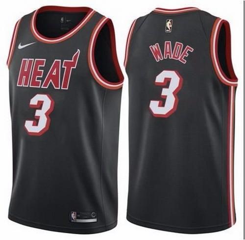 Men's Miami Heat 3 Dwyane Wade Black Icon Throwback