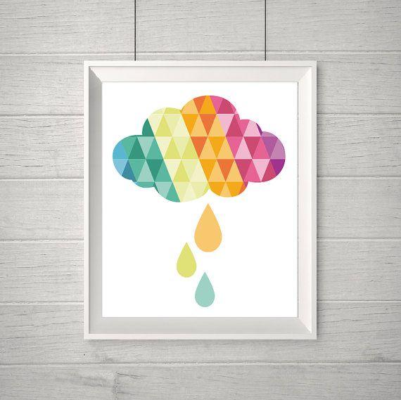 Geometric Cloud Baby Wall Art Kids room Printable by MelimeBabyArt