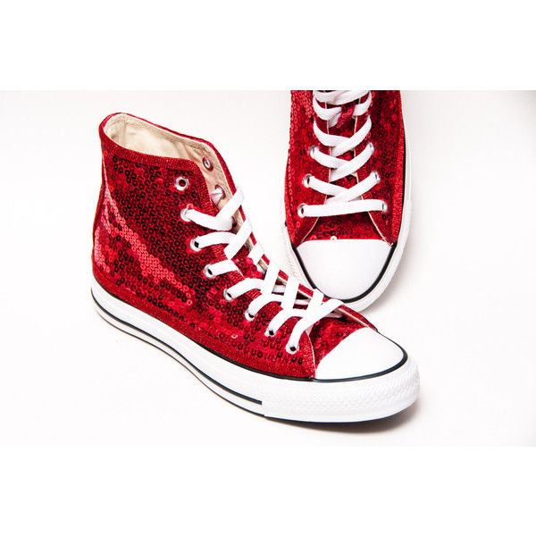 Sequin Hand Sparkled Red Canvas Converse Hi Top Sneakers Shoes ( 130) ❤  liked on Polyvore featuring shoes 1bd1f5436
