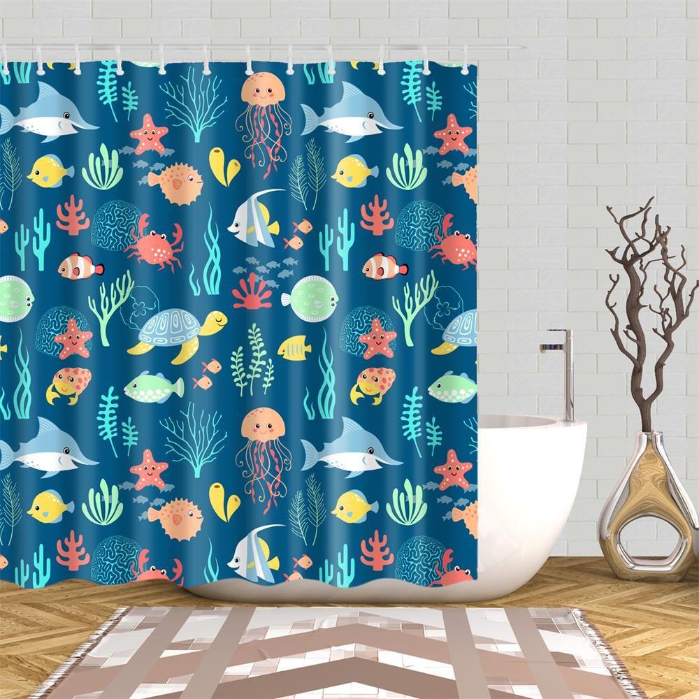 Ocean Sea Animals Shower Curtain 1 Pc Animal Shower Curtain