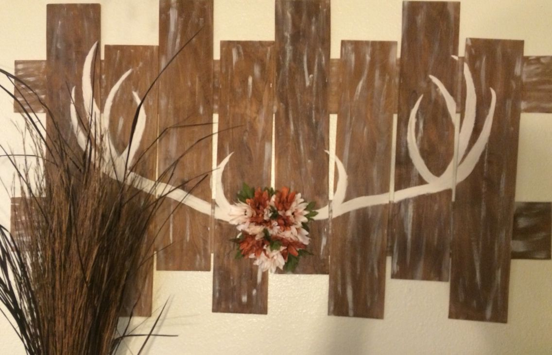 Woodsy home decor. #antlers#homemade