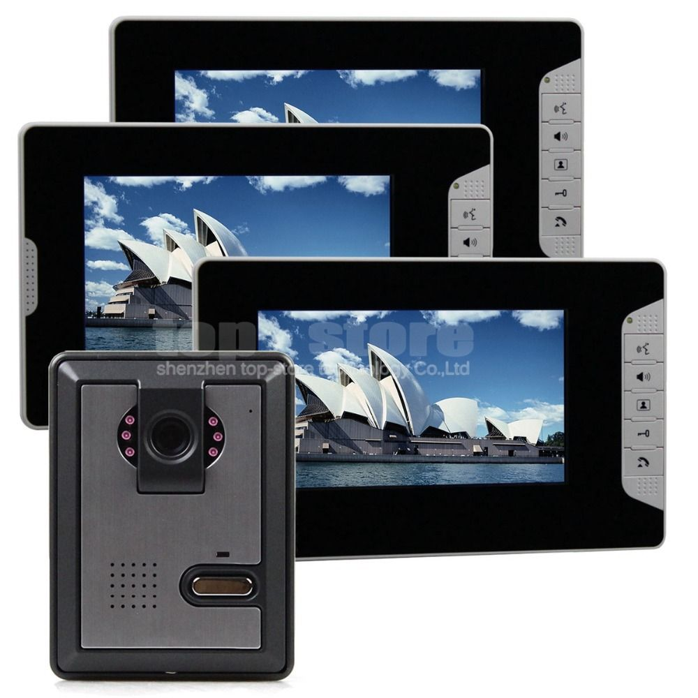 DIYSECUR 3 x 7inch Monitor Wired Color Video Door Phone Intercom ...