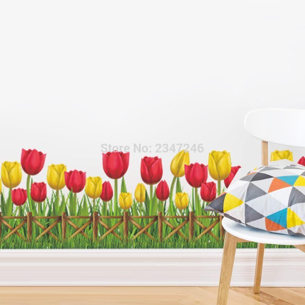 Wedding room decoration ideas  Wonderful Garden Tulip Flower Wall Decals Mural Child Home Decor