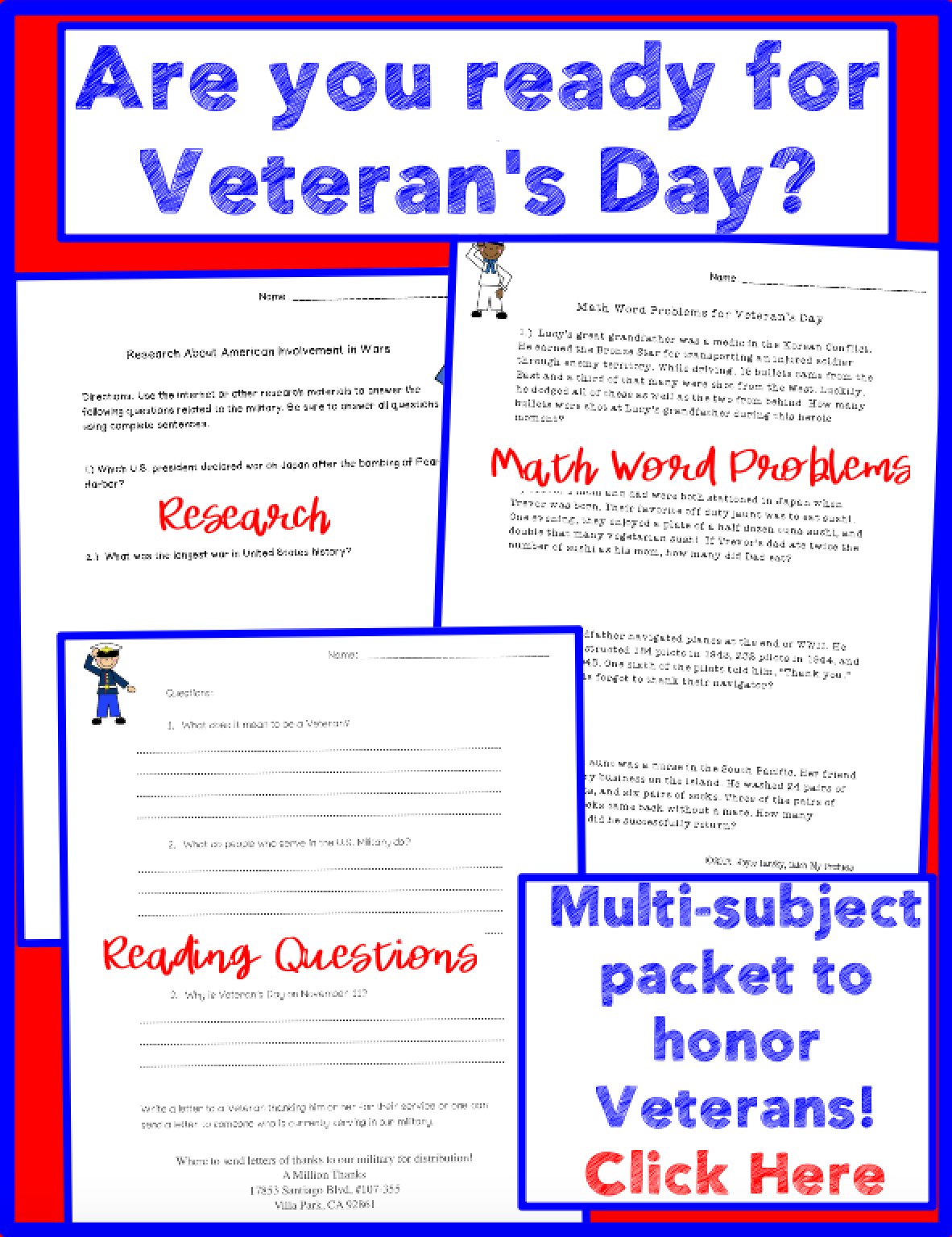 Veterans Day Worksheets Print and Go Activities Teaching