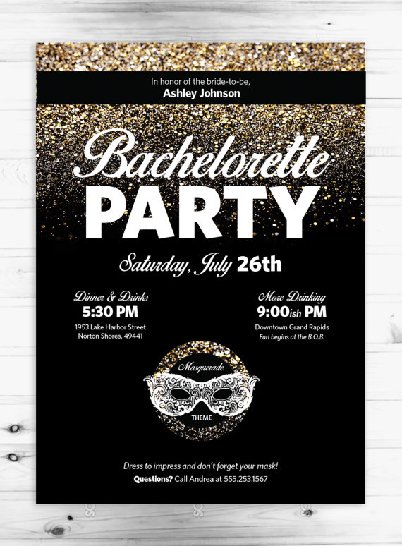 masquerade bachelorette party 5x7 invitation digital or printed