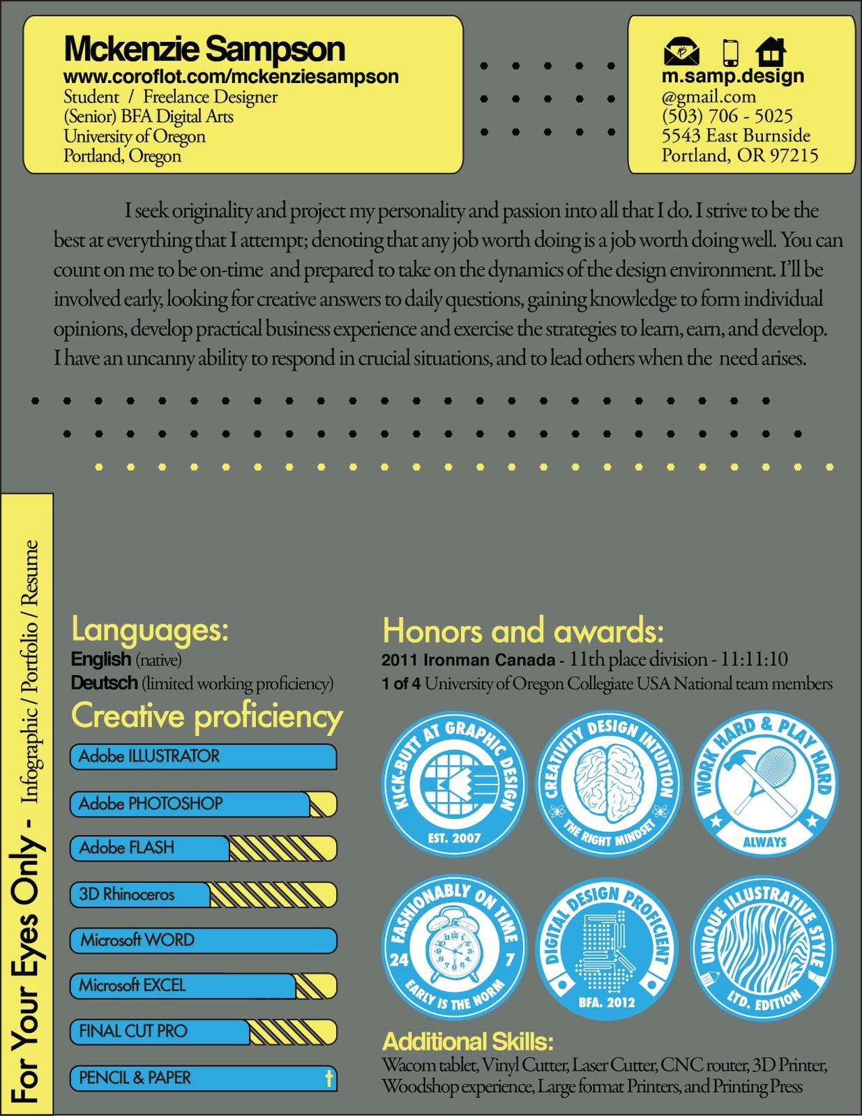 High Quality Infographic Resume: Graphic Design Student. Visually, This Is Amazing. From  A Hiring