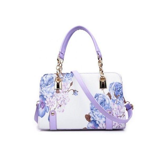 Metal Detail Flower Print Handbag (50 BAM) ❤ liked on Polyvore featuring bags, handbags, shoulder bags, floral print purse, floral shoulder bag, white purse, white shoulder bag and handbags shoulder bags