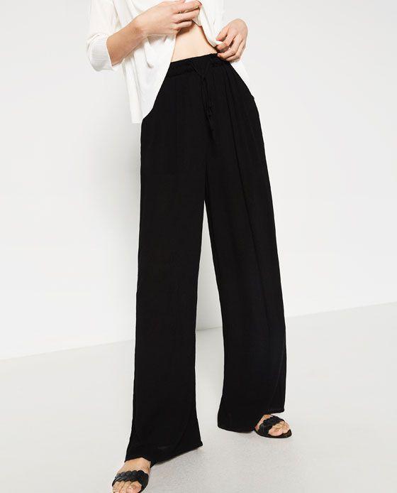image 2 de pantalon large fluide de zara v tements pinterest pantalons larges zara et. Black Bedroom Furniture Sets. Home Design Ideas
