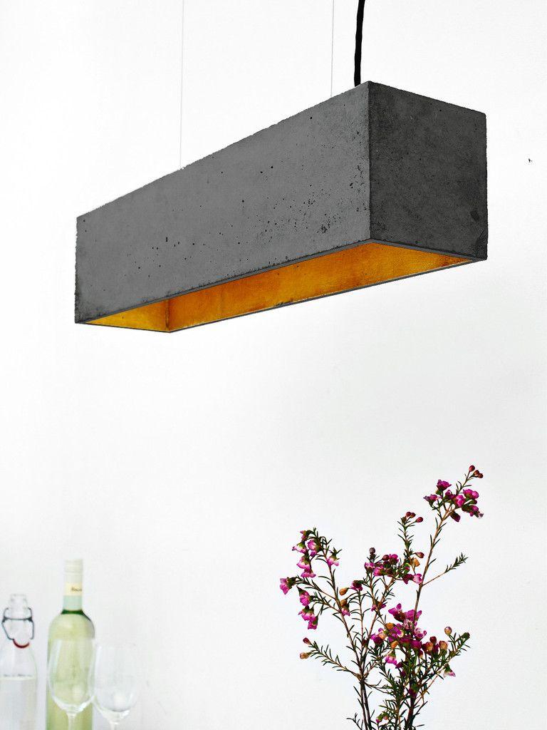 B4]dark Pendelleuchte Beton Gold (com imagens) | Candeeiros