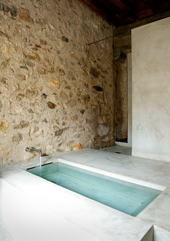 Concrete bath.  all day bathing