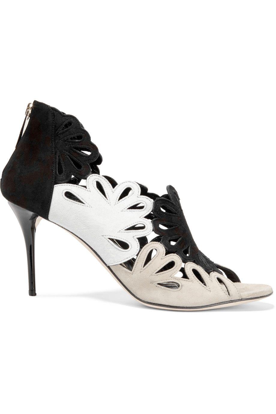 OSCAR DE LA RENTA Jazzi laser-cut suede sandals. #oscardelarenta #shoes #sandals