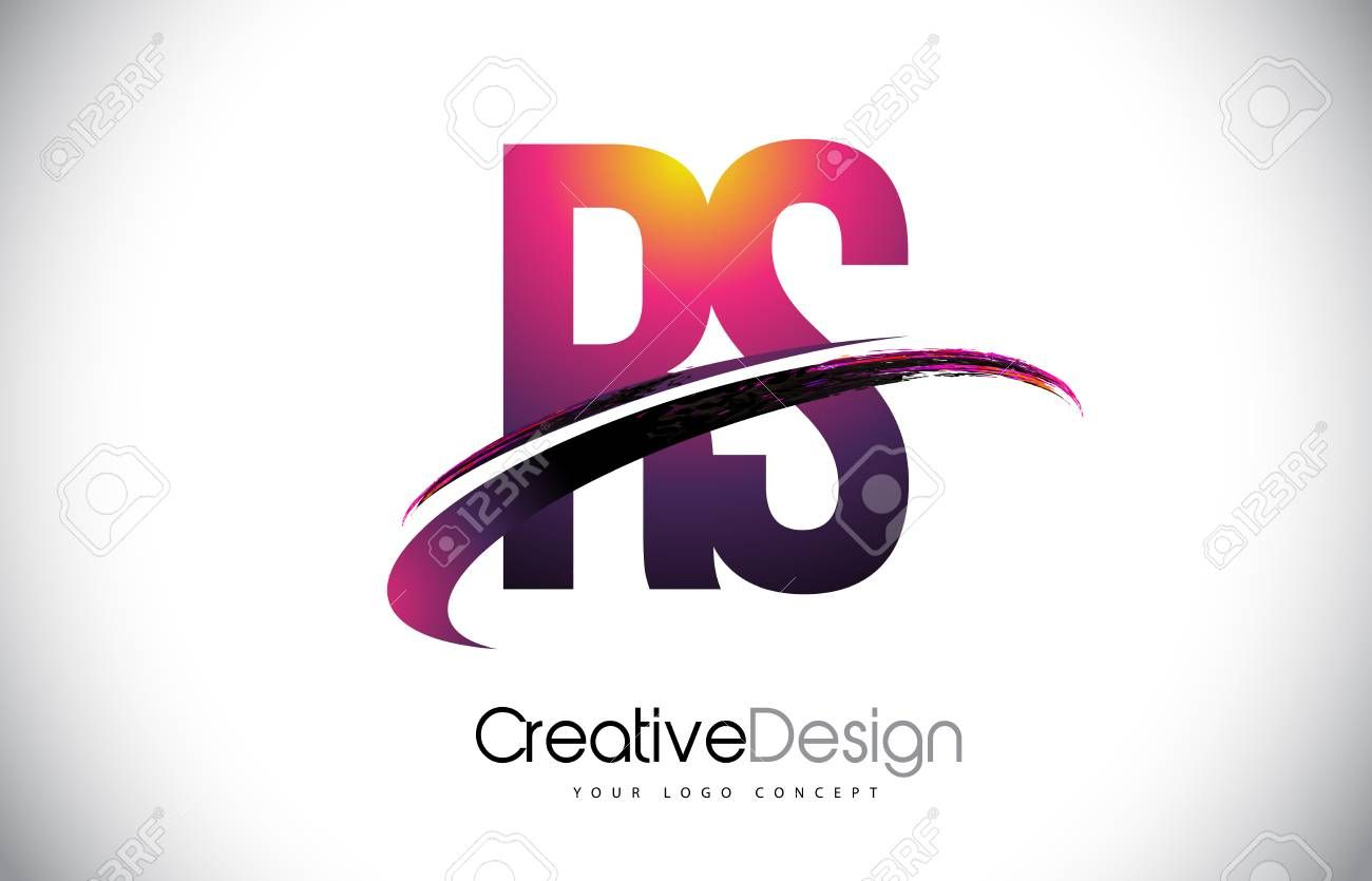 RS R S Purple Letter Logo with Swoosh Design. Creative