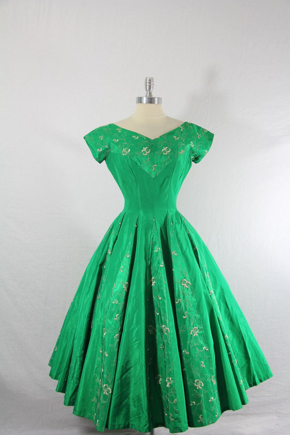 vintage gowns for sale 1950 s vintage dress emerald green taffeta with 6554
