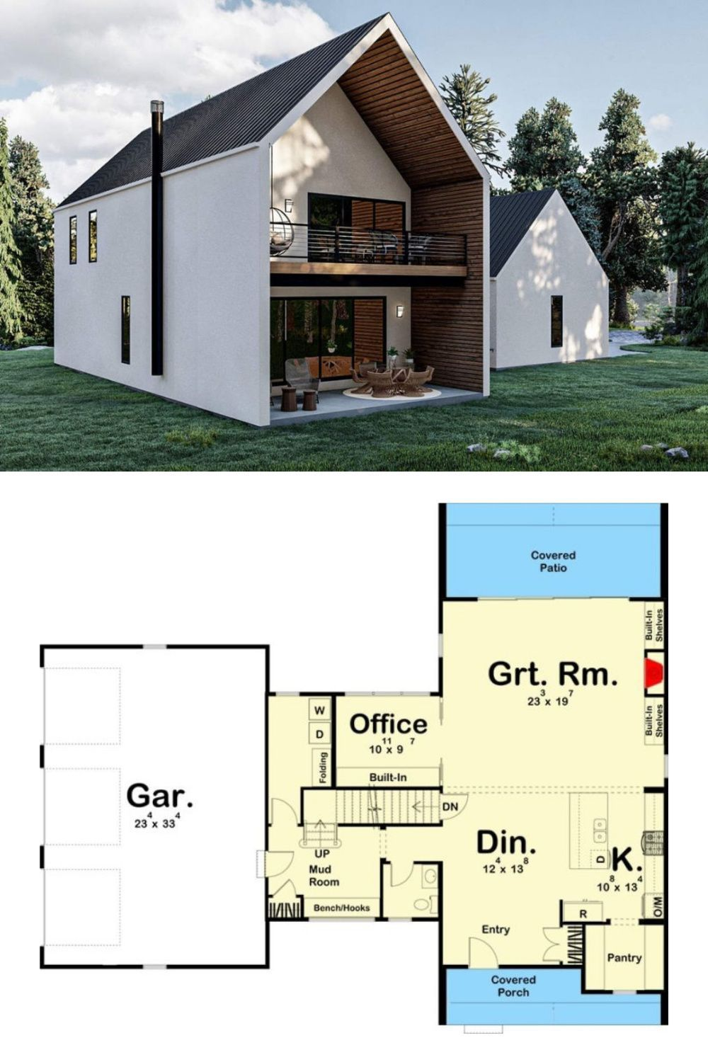 2 Story Ultra Modern Farmhouse House Plan with a Wide Open Floor Plan 2 Story 3 Bedroom Floor Plan