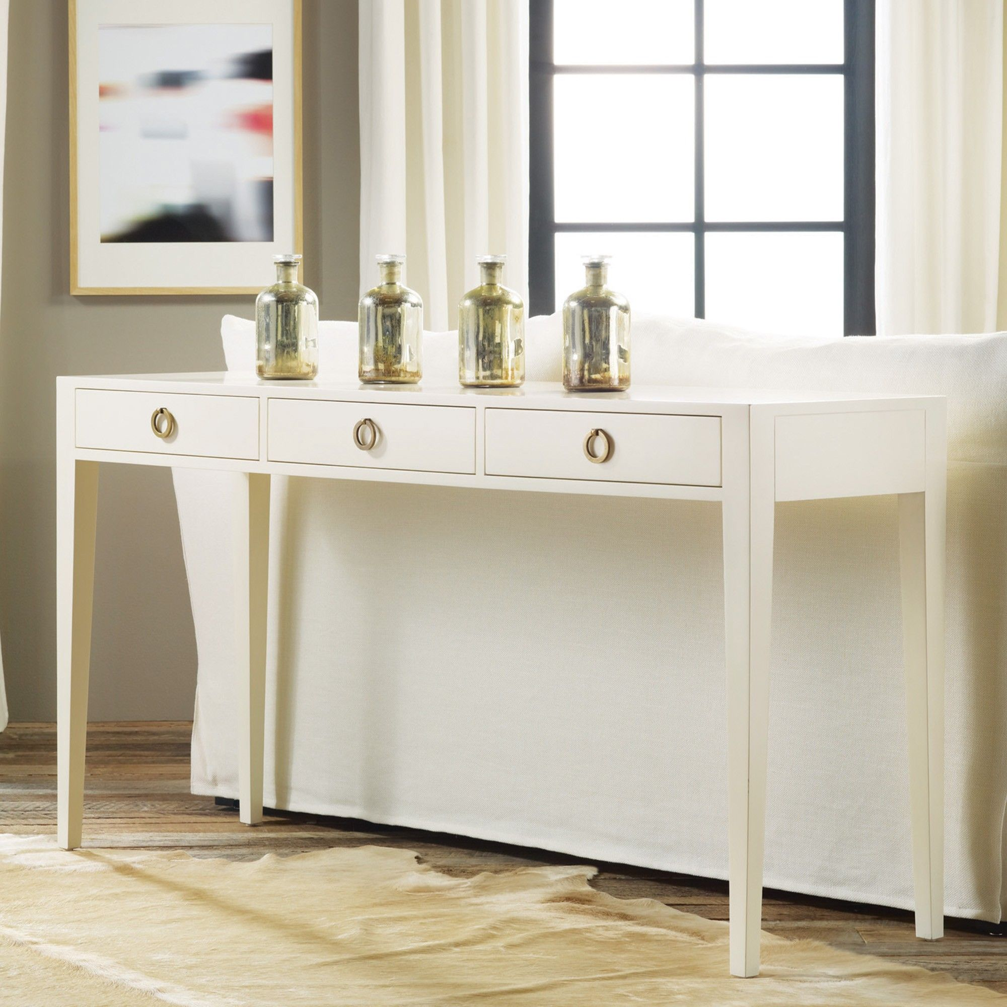 Delilah Three Drawer Console Table Furniture Modern Console Tables Bliss Home And Design