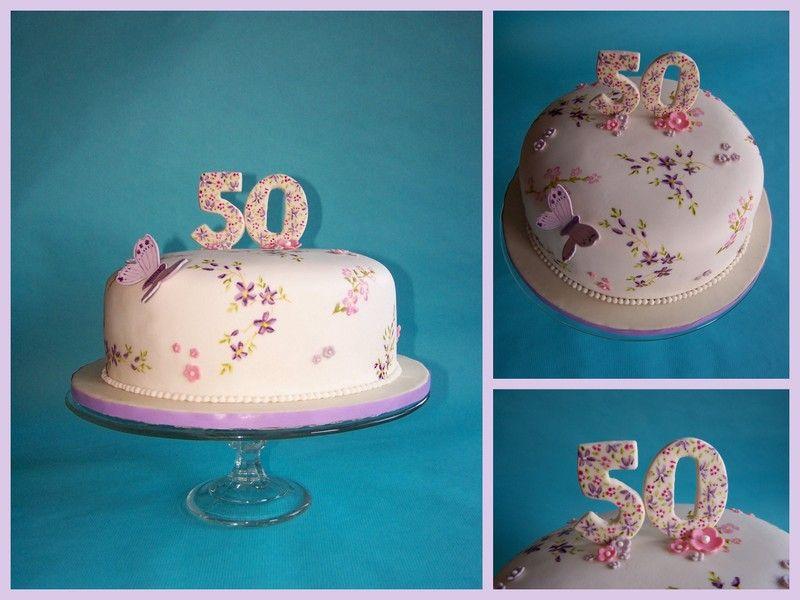 Fondant Torte Mit Gemalten Blumen Zum 50 Geburtstag Fondant Cake