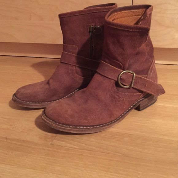 Brown suede booties Worn once. Great condition. Price negotiable. Florentini + Baker Shoes Ankle Boots & Booties