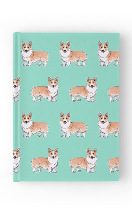 """Corgi dog"" Hardcover Journal by Savousepate on Redbubble #hardcoverjournal #notebook #stationery #corgi #dog #cute #pattern #drawing #watercolor #white #orange #ginger #blue #turquoise #aqua #mint"