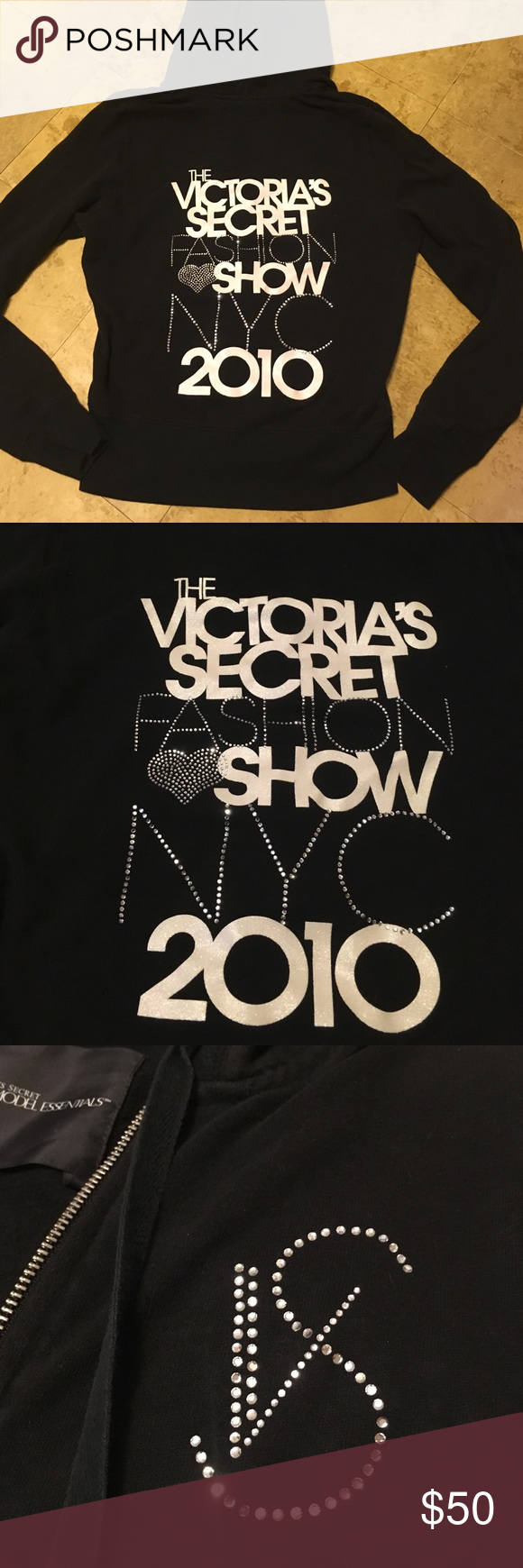 1/19 Vs black super model fashion show hoodie Vs black bling super model fashion show NYC 2010. White glitter font with silver crystal gems. None are missing. Black is slightly faded from wash but overall in good condition. PINK Victoria's Secret Tops Sweatshirts & Hoodies