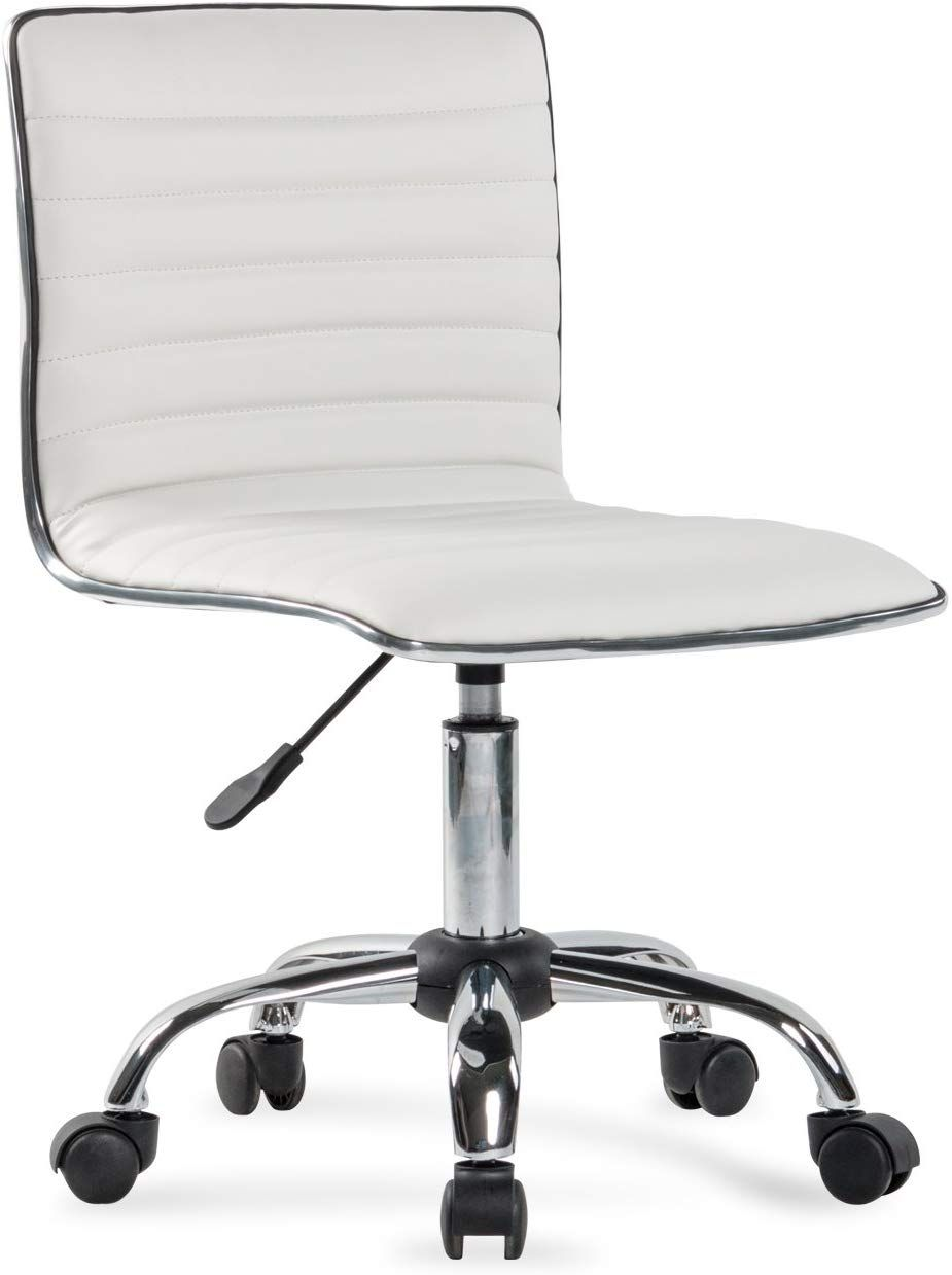 Belleze Ergonomic Low Back Armless White Ribbed Swivel Task Office Chair In 2020 Office Chair Office Chairs Online Reclining Office Chair