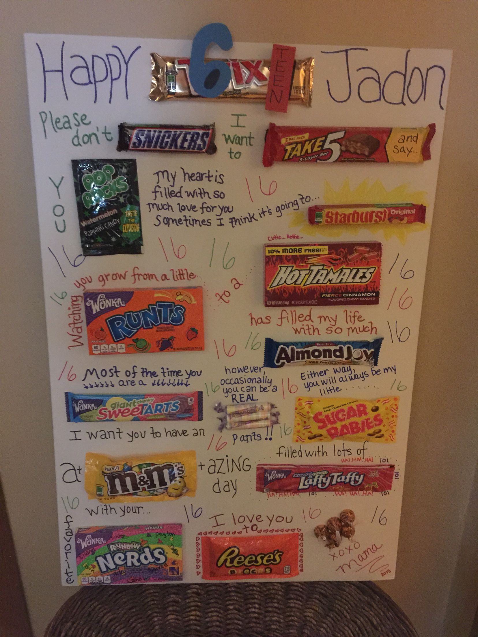Here Is A Candy Gram Birthday Card I Made For My Sons 16th He