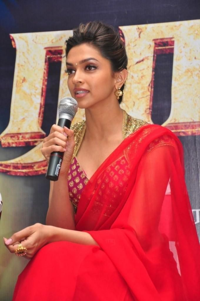 Deepika Padukone in Red Saree at Rana Press Meet   Red ...