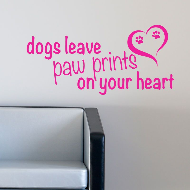 Dog wall sticker leave paw prints on your heart decal pet grooming quote w167 in home