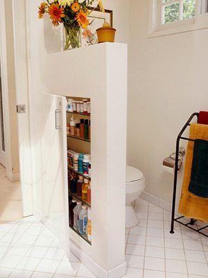 finding hidden storage around the house | bathroom wall