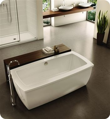Like table/shelf behind free standing tub Fleurco Serenade Acrylic ...