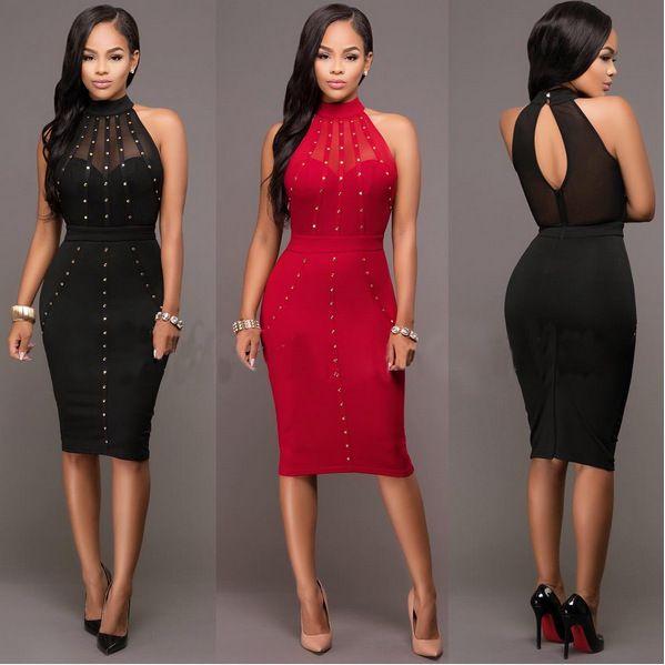 21a52e12638 VAZN Summer Dress 2017 Womens Sexy Dresses Party Night Club Wear Ladies  Bodycon Black Red Mesh Pencil Midi Dress Vestidos